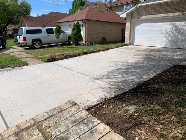 Completed concrete driveway