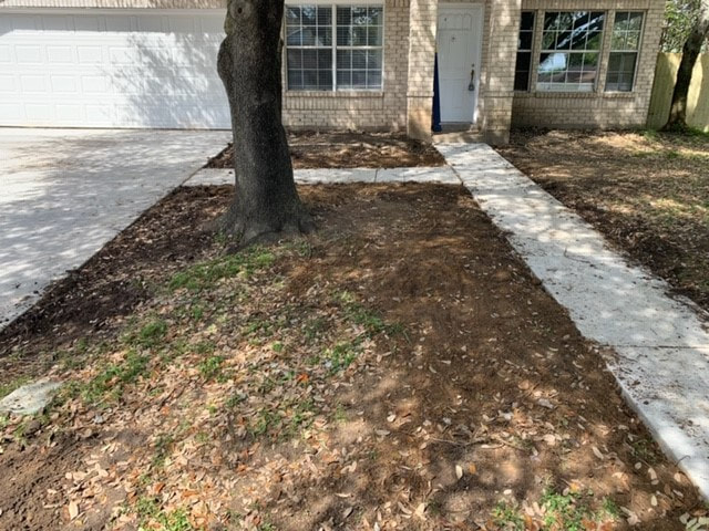 Complete sidewalk and driveway.